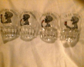 Set of 4 Vintage shot glasses. Looks,smells,tastes, it is whiskey.