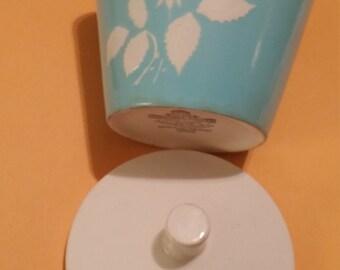 Harmony House Ironstone Cameo Rose lidded Sugar Bowl. Blue with white flowers(raised pattern).