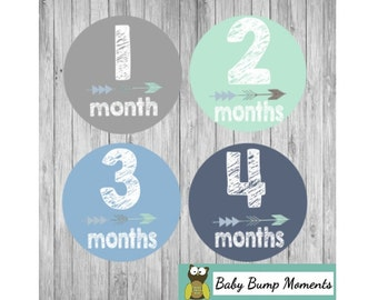 Milestone Stickers, Month Stickers Boy, First Year Stickers, Monthly Baby Stickers, Tribal Arrow, Blue Gray Mint Green