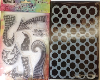 Dylusions by Dyan Reaveley - DOODLED CIRCLES - DYZ45816 Stamp & Stencil set cc02 SS029