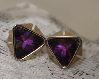 Vintage Cufflinks, Atomic Cufflinks Retro Cufflinks,  Purple Lavender Cufflinks