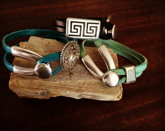 Handmade Leather Cuff Bracelets With Wishbone Clasp RM353-356