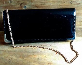 80s patent handbag or clutch, vintage patent shoulder handbag, vintage patent clutch, 80s patent clutch, black patent evening bag or purse