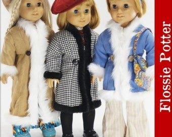 Pixie Faire Flossie Potter 70s Triple Play Coats Doll Clothes Pattern for 18 inch AG Dolls - PDF