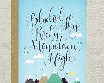 Bluebird Sky, Rocky Mountain High Greeting Card