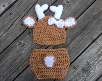Baby Girl Deer Outfit Diaper Cover Baby Deer Hat Crochet Deer Set Baby Shower Gift Newborn Photo Prop White Tail Deer Baby Shower Gift