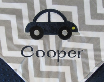 Personalized Car Baby Blanket, Car on Grey Chevron Minky Baby Blanket, Custom Blanket, Made to Order