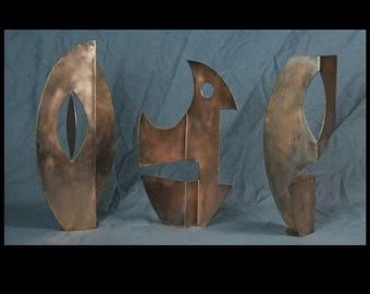 Copper Patina Subconscious Series Art Collection Small Metal Sculptures By Jacob Novinger