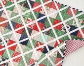 Lattice patchwork Christmas quilt- Holiday quilt- Christmas gift for her- traditional christmas decor- christmas quilts, christmas bedding