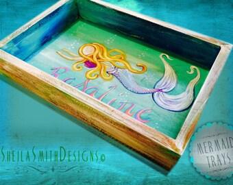 Mermaid Tray, Mermaid Décor, Mermaid Art, Beach Décor, Painted Wooden Tray, Personalize mermaid