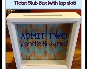ADMIT TWO, Ticket Shadow Box, 8x8, Girlfriend Gift, Boyfriend Gift, Anniversary Gift, Gift for husband, Gift for wife, Ticket Stubs