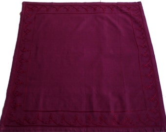 Vintage cotton claret square table cloth  tablecloth with embroidery 80s