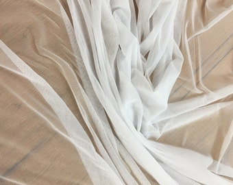 White Stretch Power Mesh Fabric By the Yard,  White Power mesh, Soft Sheer Drape Mesh Fabric, Stretch Mesh Fabric, Performance Mesh Fabric