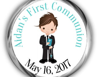 Boy Communion Hershey Kisses Sticker - Personalized First Communion Stickers