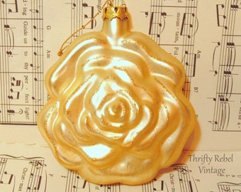 Vintage Glass Rose Christmas Ornament Shabby Chic Victorian