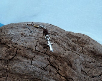 Man's Silver toned Earring with Surgical Steel Two Toned Ear Wire Wooden Beads Silver Toned Sword