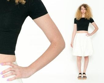 1980's White Balloon Skirt – Vintage 80s Cotton Preppy High Waisted Minimalistic High Rise Circle Midi Boho Skirt Size M L