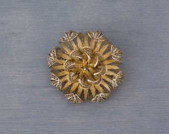 Antique Silver Gold Wash Filigree Flower Brooch Pin