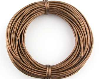 Bronze Metallic Round Leather Cord 1mm 25 meters (27 yards)