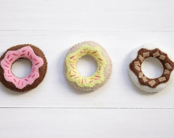 Felt Mini Iced Donut Magnets - Set of 3 soft plush fridge magnets. Strawberry Lemon & Chocolate Icing with Sprinkles
