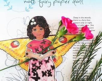 Little Luna, a Moth Fairy Paper Doll Kit
