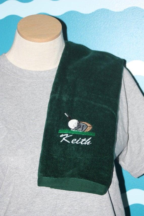 Embroidered Golf Towel - Custom made golf towel - tri-fold embroidered custom hand towel - Personalized golf towel - Personalized golf gift