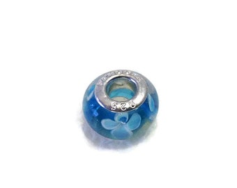 925 Sterling Silver Turquoise Blue & White Murano Glass Charm