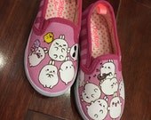 Custom painted Osh Kosh canvas shoes with Molang bunny children size 8