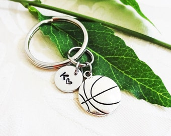 BASKETBALL KEYCHAIN - with initial or number charm - Please see all photos to order - One flat rate shipping in my shop :)