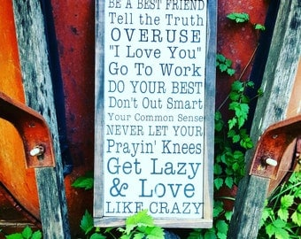 Love Like Crazy Sign // Lyrics Sign// Modern rustic sign// Farmhouse sign// Country Music Sign