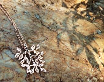 Leaf necklace - twig pendant - natural necklace