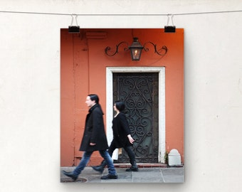 Door Photograph, NOLA Architecture, Coral, Wrought Iron, New Orleans