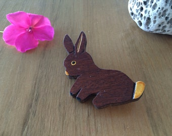 Vintage Rabbit Brooch, Wooden Bunny, Hand Painted