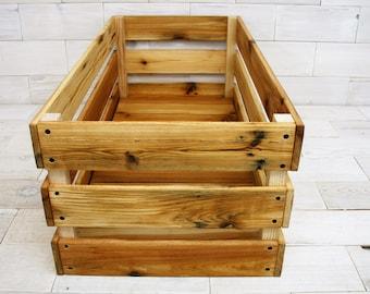 "Reclaimed Cedar Milk Crate 32"" x 12"" x 12"" . . . (aka storage bins, distressed wood crate shelf, cabin box, farm crate cabin box, basket)"