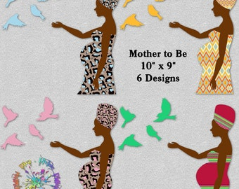 African Mother To Be | Birds of Happiness | Expecting Pregnant | Clipart  Instant Download