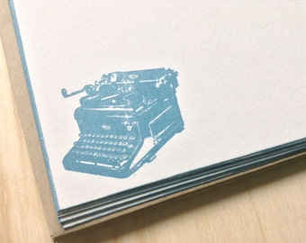 vintage inspired flat note cards and envelopes, retro/vintage typewriter, set of 10, a6, stationery set