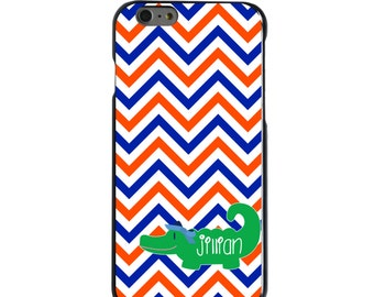 Hard Snap-On Case for Apple 5 5S SE 6 6S 7 Plus - CUSTOM Monogram - Any Colors - Blue Orange Chevron Green Gator Name