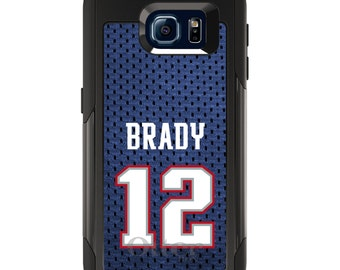 OtterBox Commuter for Galaxy S4 / S5 / S6 / S7 / S8 / S8+ / Note 4 5 8 - CUSTOM Monogram - Any Colors - Brady 12 Jersey