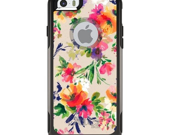OtterBox Commuter for Apple iPhone 5S SE 5C 6 6S 7 8 PLUS X 10 - Custom Monogram - Any Colors - Pink Purple Floral Flowers