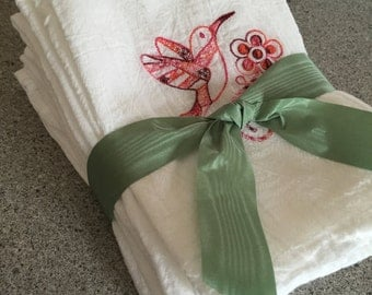Hummingbird Embroidered Flour Sack Towels