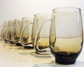 Libbey Glass Beer Mugs / Tankards - Retro / Vintage Set of 6 Smoked Blown Glass Handle Coffee Mugs - Circa 1960s - Brown Glassware / Glasses
