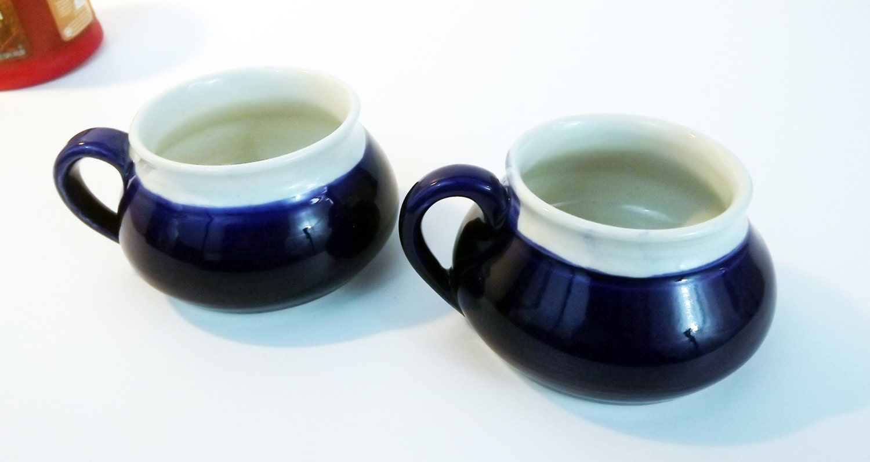 Vintage Pottery Coffee Tea Cups Or Mugs Cobalt Blue