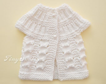 White Baby Sweater, White Baby Cardigan, Chunky Baby Sweater, Knit Baby Sweaters, Newborn Sweaters, Baby Girl Clothes, Knit Baby Outfits