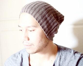 Beanie, slouchy beanie, winter beanie, men hat, man gift- brown knit- winter hat, guy gift idea, ready to ship, dread, christmas gift idea