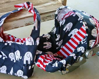 navy blue and white elephants w/ red and white stripe infant car seat cover and hood cover w/matching diaper bag