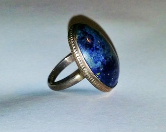 Vintage Sterling Silver and Lapis Lazuli Statement Ring LARGE