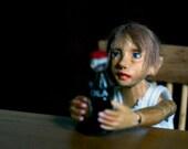 OOAK wooden bjd 1 inch scale wood miniature posable art doll Aslan