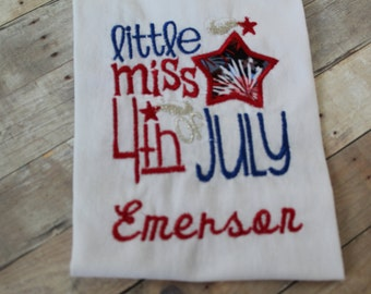 Custom 4th of July Onsie - Little Miss 4th of July