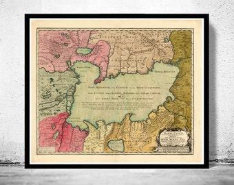 Old Map of Caspian Sea 1750