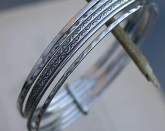 French antique Large 6 strands art deco 1920S sterling silver engraved solid sterling bracelet  bracelet engraved sterling